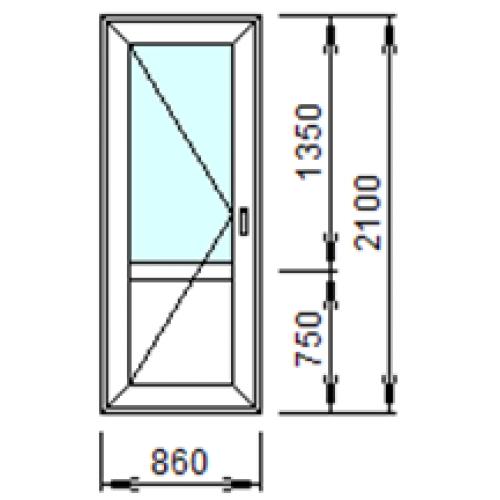 Входная пластиковая дверь 860х2100 (левая)