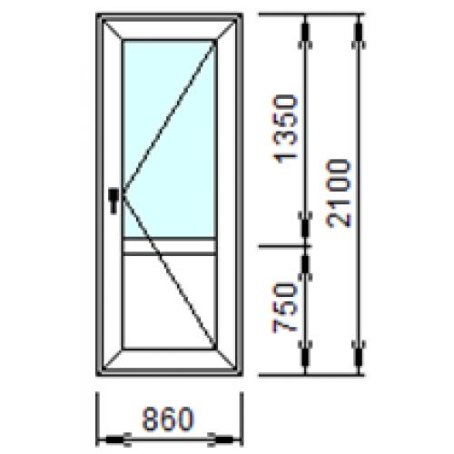 Входная пластиковая дверь 860x2100 (правая)