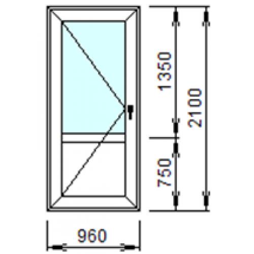 Входная пластиковая дверь 960х2100 (левая)