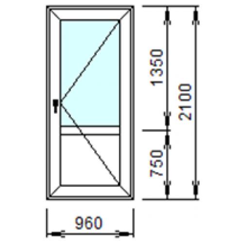 Входная пластиковая дверь 960х2100 (правая)