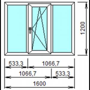 Оконный Блок 3 ПО 1600х1200