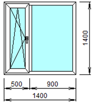 Готовое пластиковое окно № 205