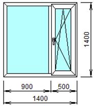 Готовое пластиковое окно № 206