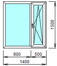 Готовое пластиковое окно № 208