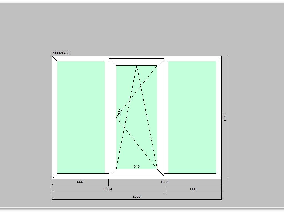Пластиковое окно 2000*1450 мм трехстворчатое