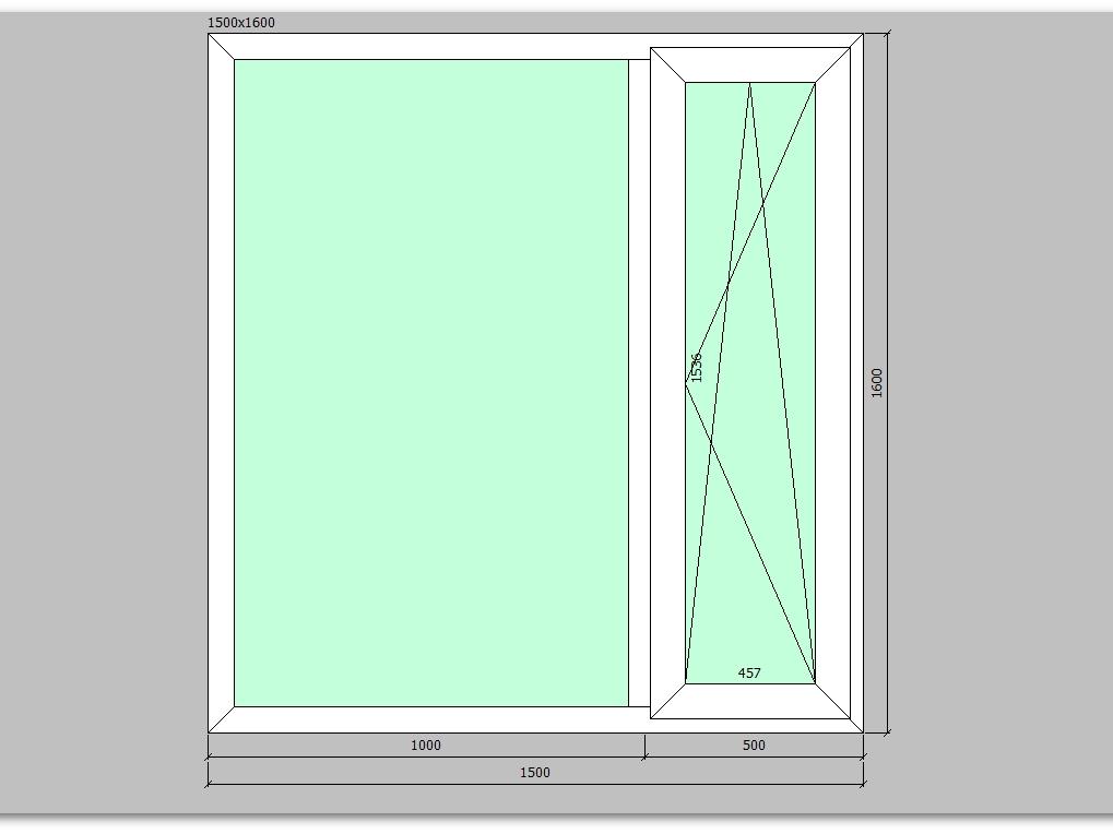 Пластиковое окно 1500*1600 мм двухстворчатое, правое