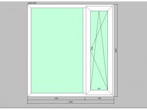 Двухстворчатое окно ПВХ 1500х1600 правое