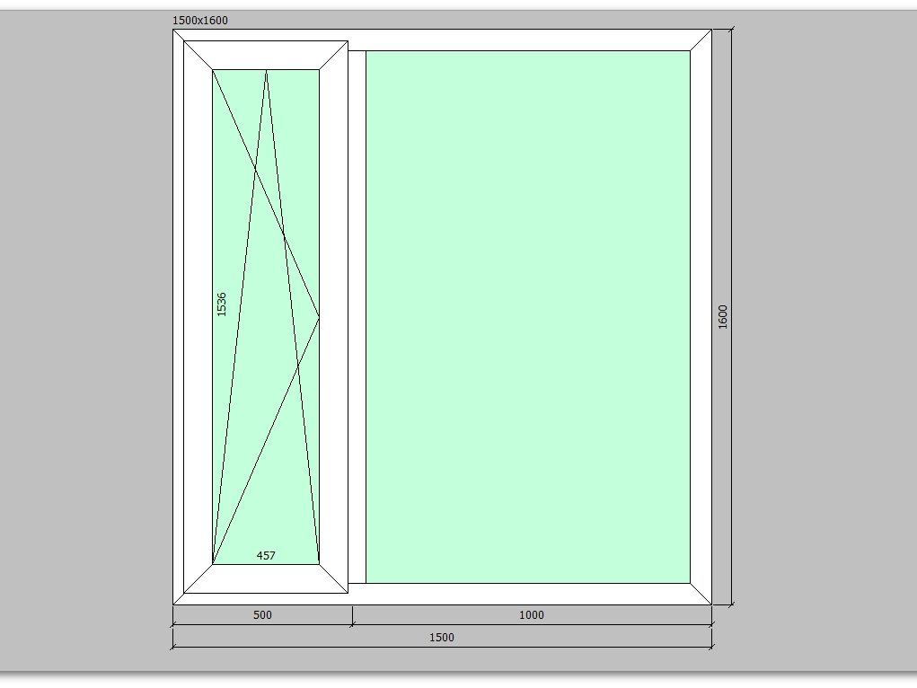 Пластиковое окно 1500*1600 мм двухстворчатое