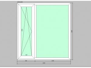 Двухстворчатое окно ПВХ 1500х1600