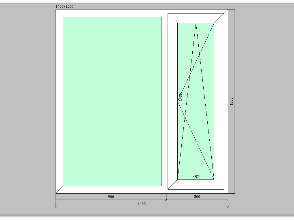 Пластиковое окно 1400*1500 мм двухстворчатое правое