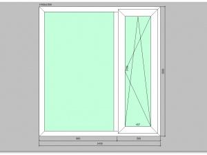 Двухстворчатое окно ПВХ 1400х1500 правое