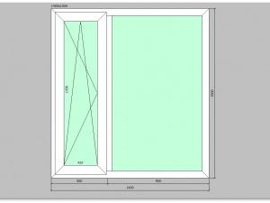 Двухстворчатое окно ПВХ 1400х1500