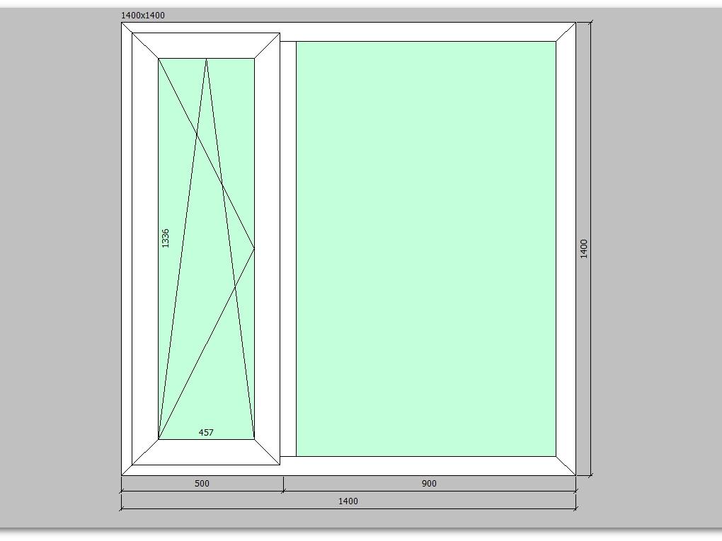 Пластиковое окно 1400*1400 мм двухстворчатое