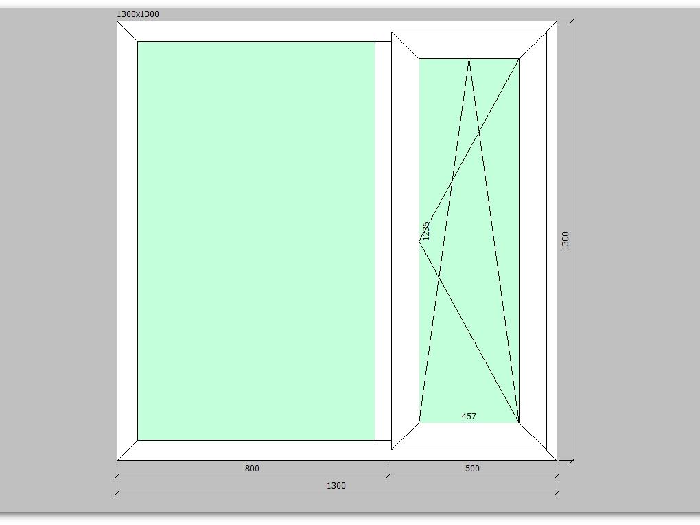 Пластиковое окно 1300*1300 мм двухстворчатое, правое