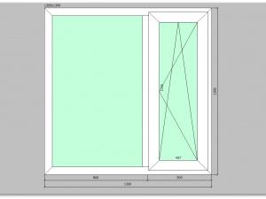 Двухстворчатое окно ПВХ 1300х1300 правое