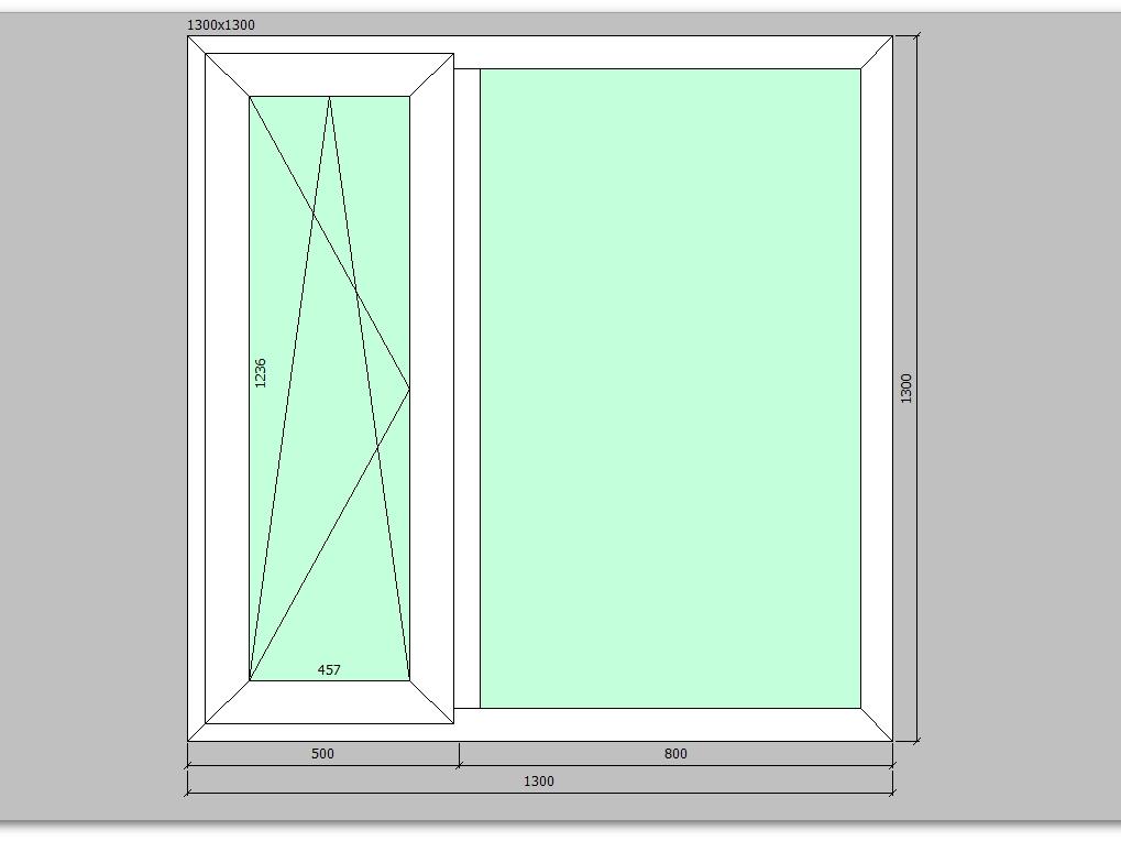 Пластиковое окно 1300*1300 мм двухстворчатое