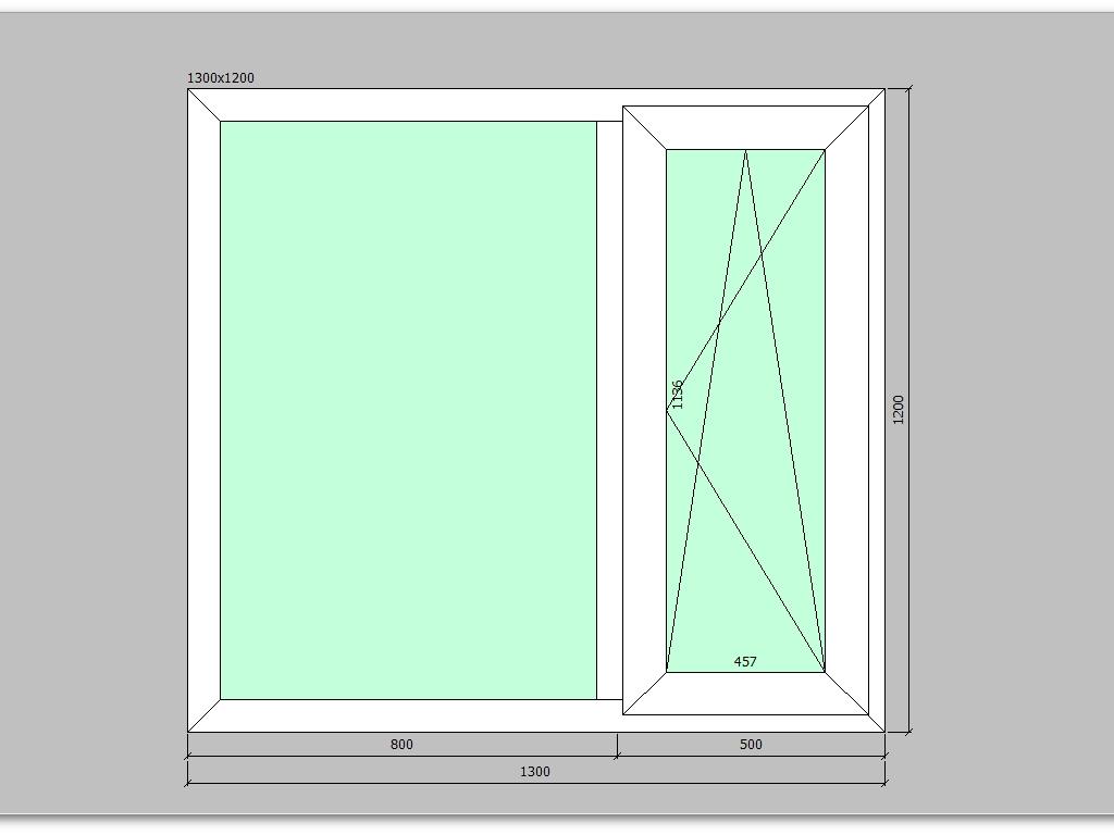 Пластиковое окно 1300*1200 мм двухстворчатое, правое