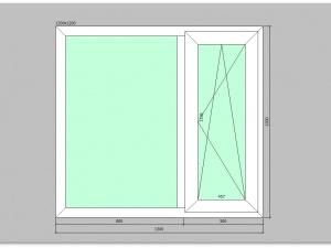 Двухстворчатое окно ПВХ 1300х1200