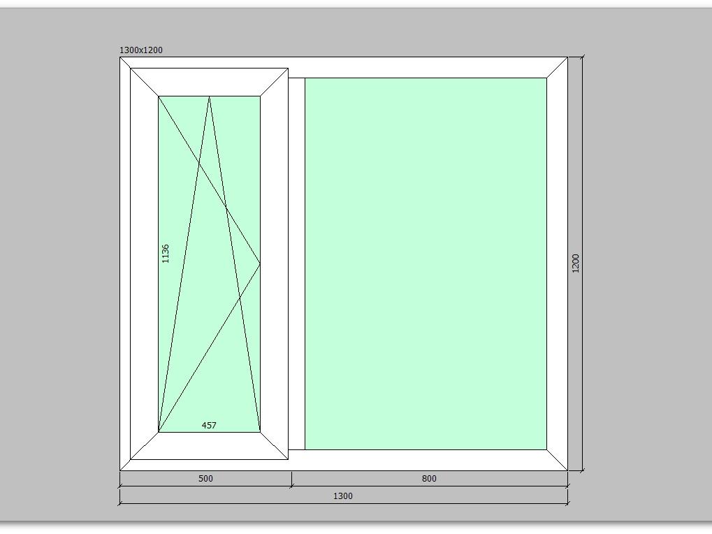 Пластиковое окно 1300*1200 мм двухстворчатое
