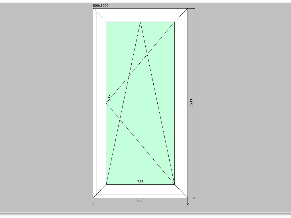Пластиковое окно 800*1600 мм одностворчатое