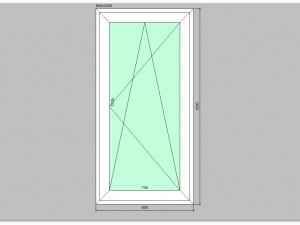 Одностворчатое окно ПВХ 800х1600