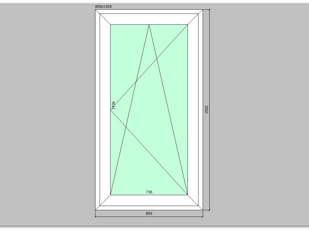 Пластиковое окно 800*1500 мм одностворчатое