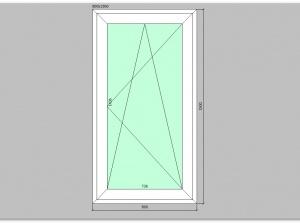 Одностворчатое окно ПВХ 800х1500