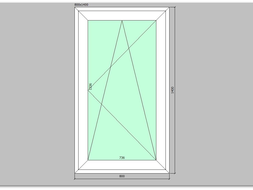 Пластиковое окно 800*1400 мм одностворчатое