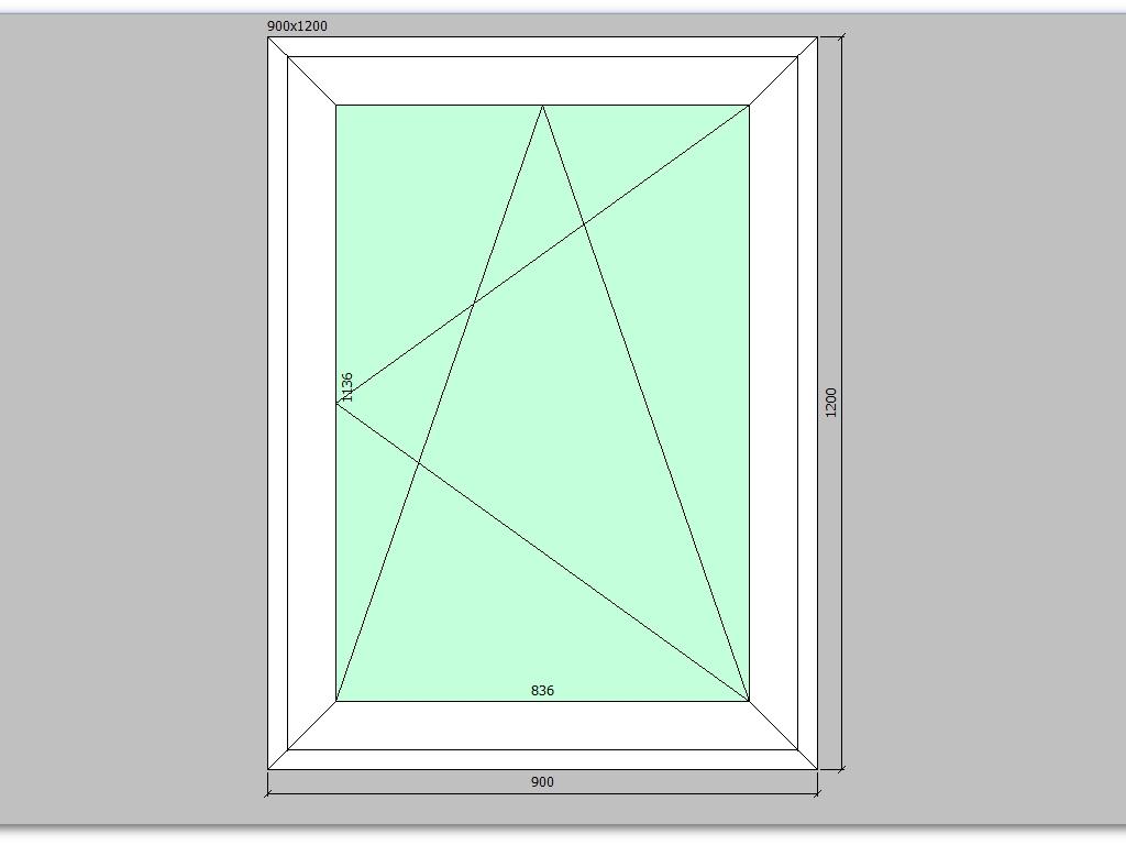 Пластиковое окно 900*1200 мм одностворчатое