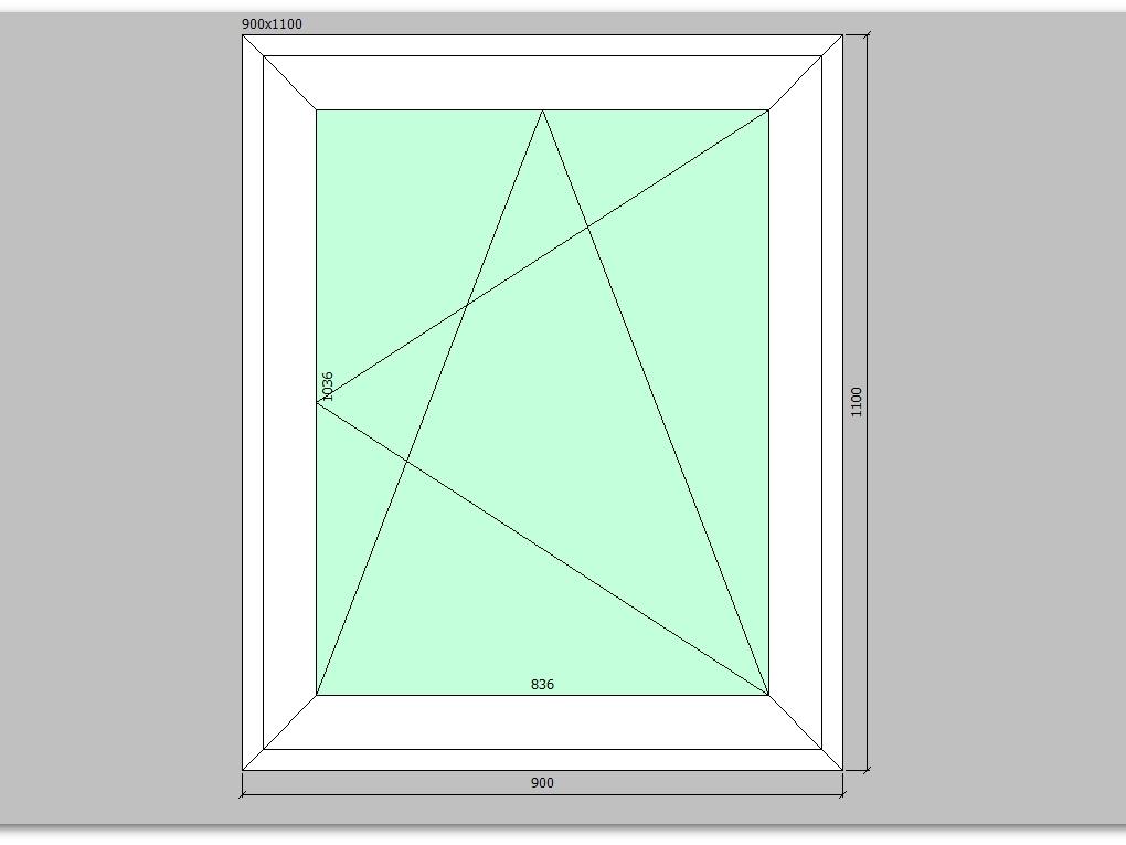 Пластиковое окно 900*1100 мм одностворчатое
