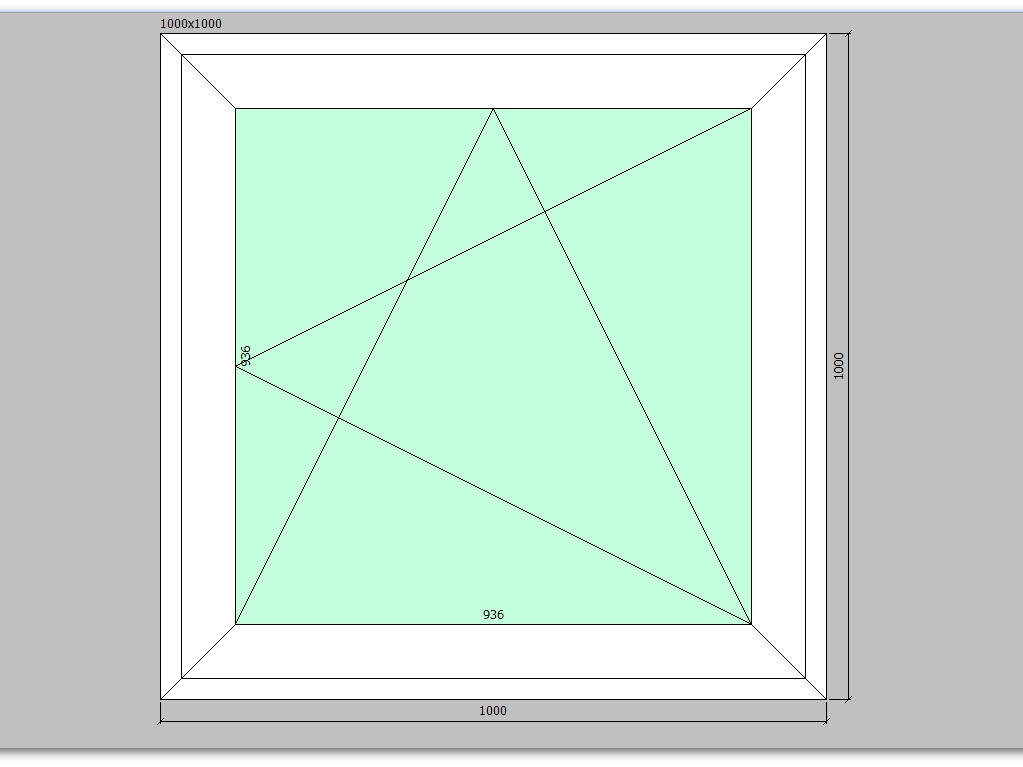 Пластиковое окно 1000*1000 мм одностворчатое