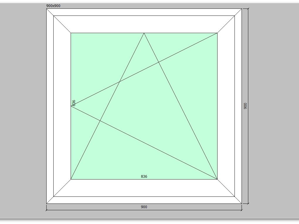 Пластиковое окно 900*900 мм одностворчатое