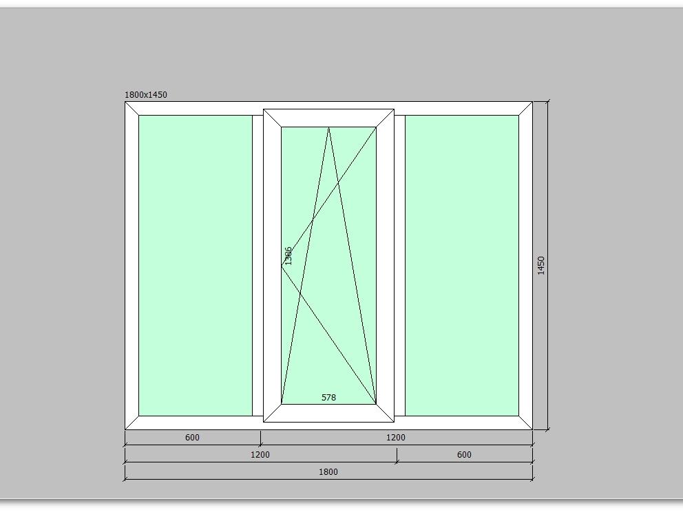 Пластиковое окно 1800*1450 мм трехстворчатое