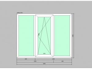 Трехстворчатое окно ПВХ 1800х1450