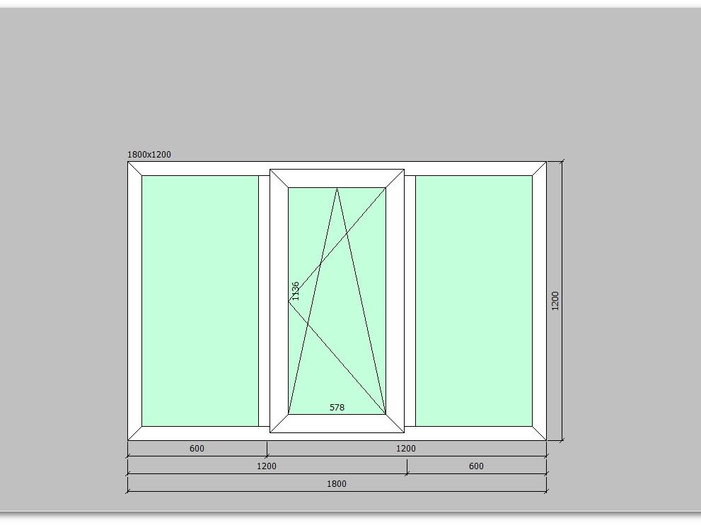 Пластиковое окно 1800*1200 мм трехстворчатое