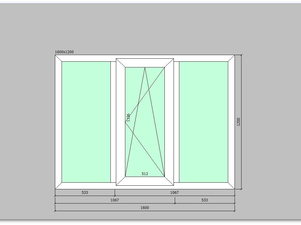 Пластиковое окно 1600*1200 мм трехстворчатое