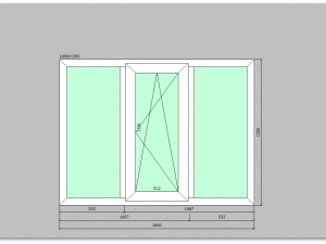 Трехстворчатое окно ПВХ 160 на 120 см